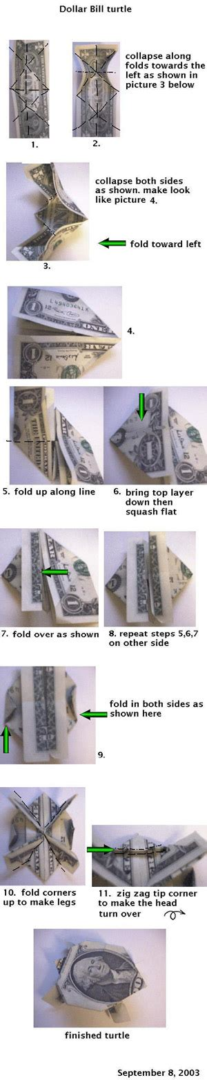 Money Origami Turtle - how to make a turtle out of a dollar bill with pictures