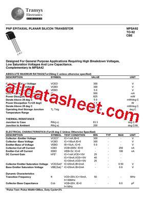 Mpsa92 Mpsa 92 mpsa92 データシート pdf transys electronics limited