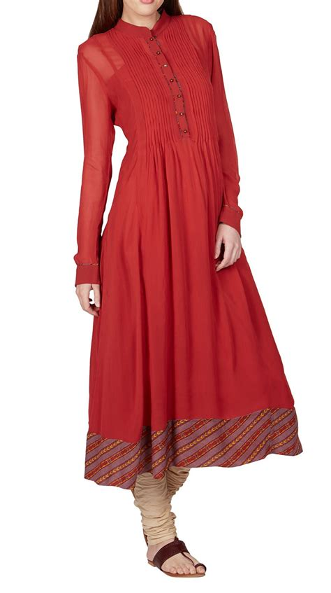 design house kurta online buy indian designer red anarkali long kurta by ritu kumar