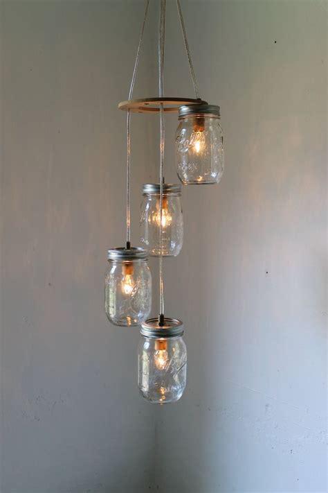 Jar Pendant Chandelier Spiral Jar Chandelier Rustic Hanging Jar Pendant Lighting Fixture 4 Clear Pint