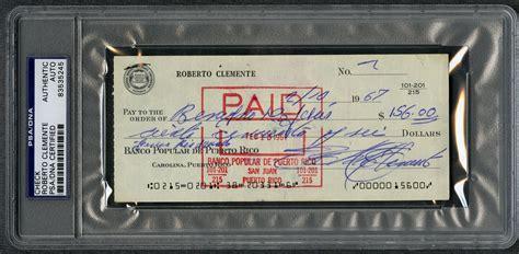 banco popular account number lot detail 1967 roberto clemente signed banco popular de