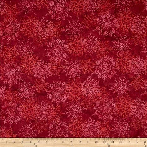 batik upholstery fabric bali batiks snowflakes red velvet