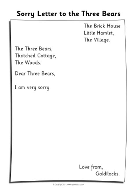 Apology Letter Goldilocks Goldilocks The Three Bears Teaching Resources Story Sack Printables Sparklebox