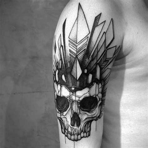 tattoo geometric skull erkek omuz geometrik kuru kafa d 246 vmesi man shoulder