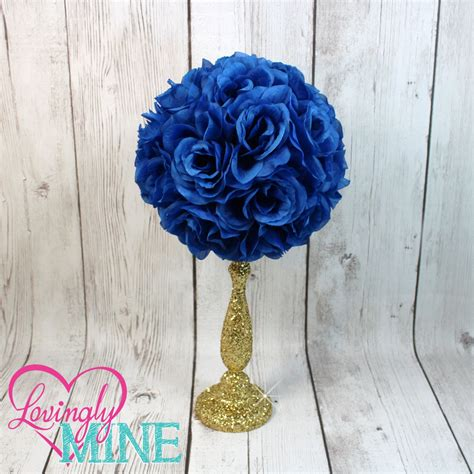 Centerpiece Royal Blue Rose Pomander Glitter Gold Vase Royal Baby Shower Centerpieces