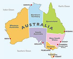 map of australia with states and territories map of australia showing states territories and capital