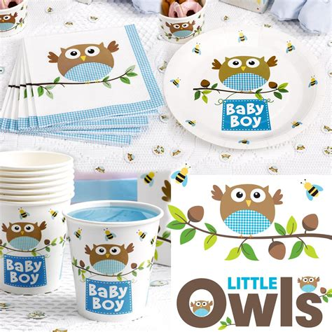 owl baby shower plates and napkins owl partyware baby shower christening birthday set