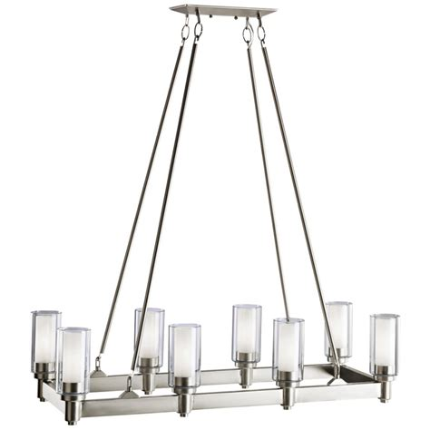Rectangle Chandelier Lighting Circolo Collection 8 Light 36 Quot Brushed Nickel Rectangular Chandelier With Satin Etched Glass 2943ni