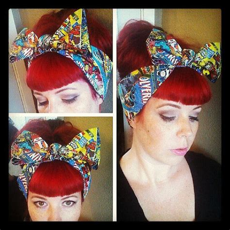 womens 1950s bandana hairstyles comic marvel headwrap bandana hair big bow tie 1940s 1950s