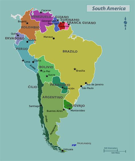 south america map with states and capitals maps of south america and south american countries