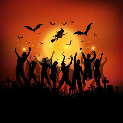 halloween images party halloween party background with silhouettes of people