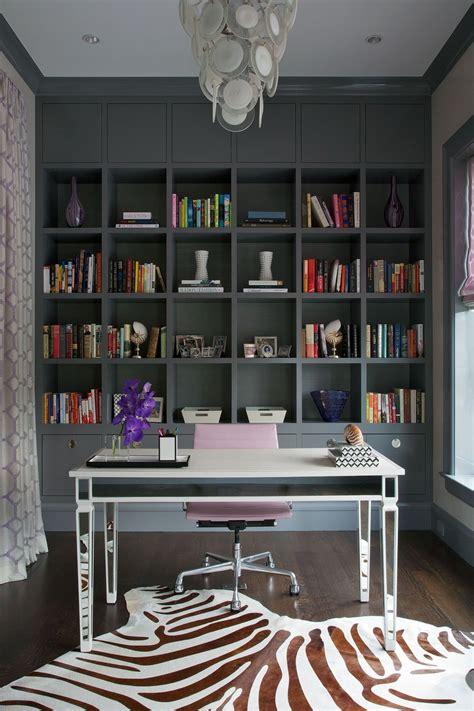 black ikea billy bookcase in home office with gray walls