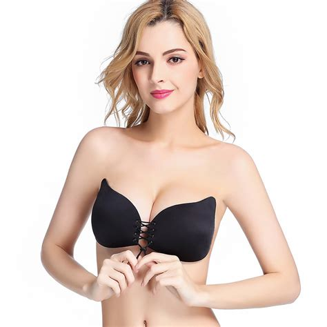 Push Up Bra Sbj22 Lace Up Self Adhesive Invisible Strapless Push Up Bra Top