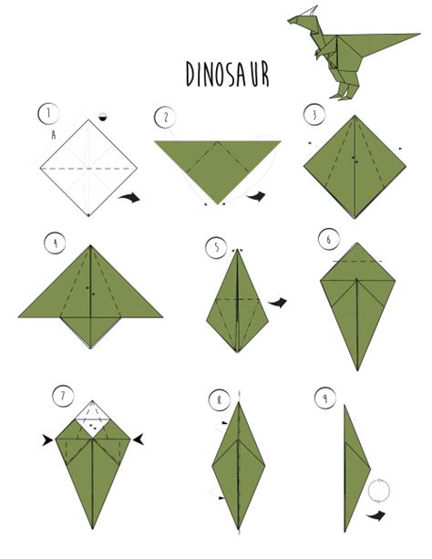How To Make A Paper Dinosaur Step By Step - origami on