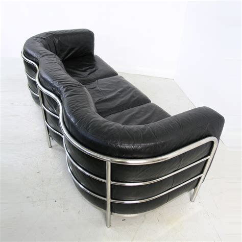 zanotta sofa for sale zanotta onda black leather and chrome sofa