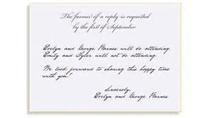 formal wedding reception card wording rsvp etiquette traditional favour of a reply filled out
