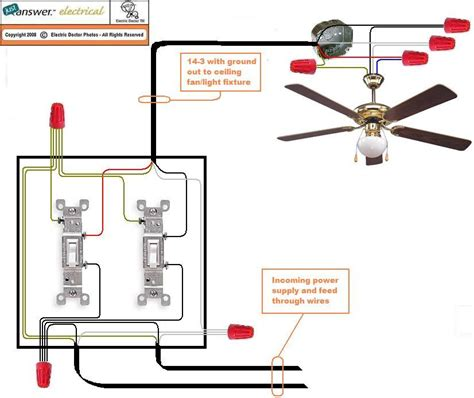 circuit ceiling fan wiring standard setup light switch