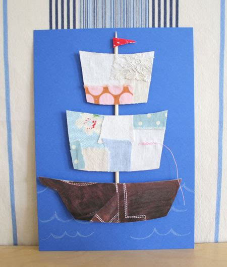 fabric scraps ship fathers day card