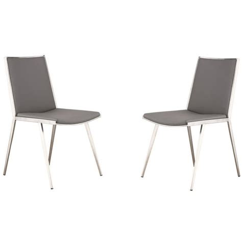 Leather And Steel Dining Chairs Armen Living Ibiza Faux Leather Steel Dining Chair In Gray Set Of 2 Lcibchgrb201