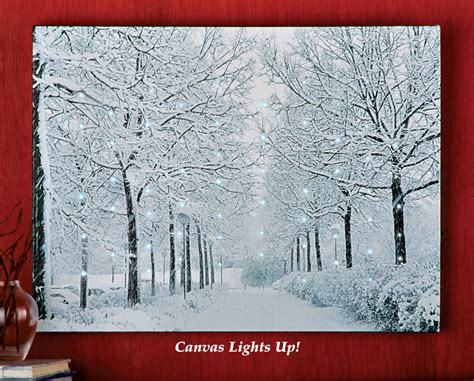 fiber optic winter wonderland canvas wall art twinkling