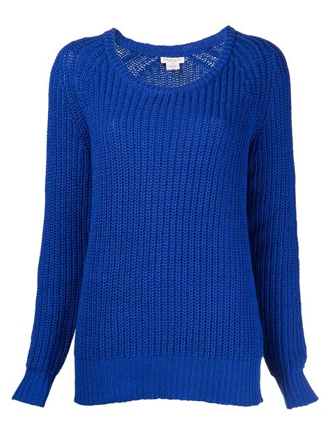 blue knit sweater lyst demylee patti open knit sweater in blue