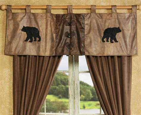 black bear curtains bear valance with antler buttons