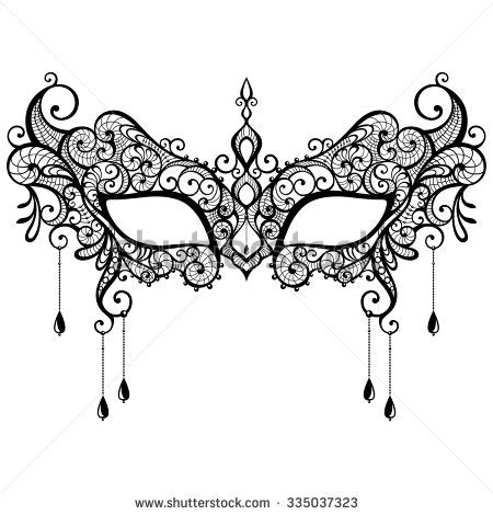 V22 Wallpaper Sticker Motif Vintage Purple beautiful black lace masquerade mask isolated on white