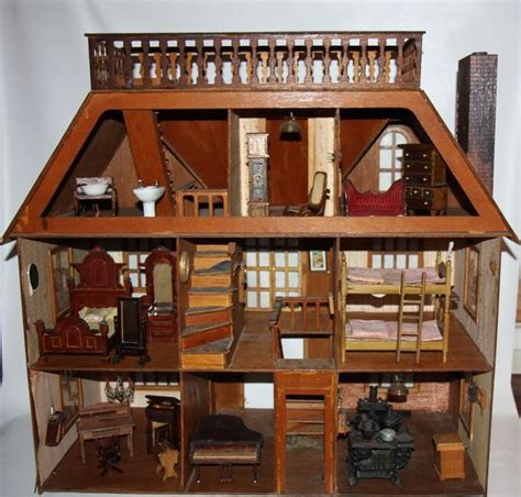 old wooden doll house antique doll house van buren greenleaf furniture dolls and houses pinterest