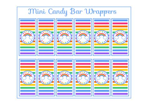 miniature bar wrappers template free free rainbow mini bar wrappers rainbow