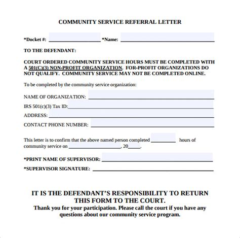 22 Community Service Letters To Download For Free Sle Templates Court Ordered Community Service Letter Template
