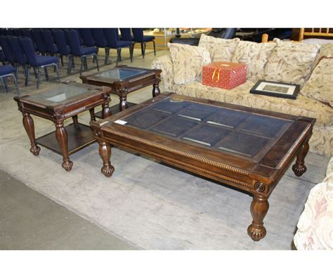 Glass Top Coffee And End Tables 4pc Glass Top Mahogany Finish Coffee And End Table Set Coffee Table With 3 End Tables