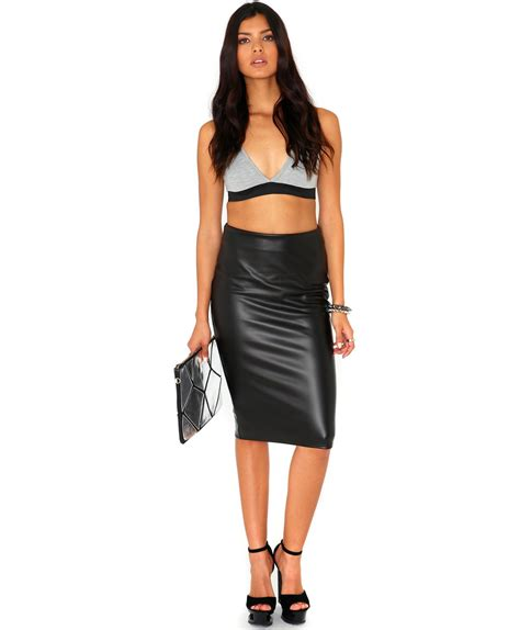 missguided korie leather look pencil skirt in black lyst
