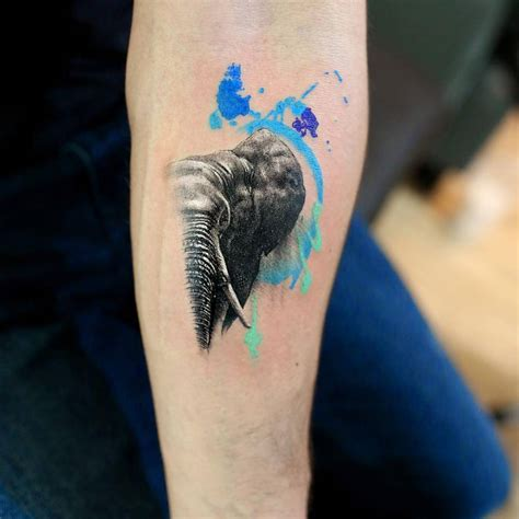 graphic tattoos graphic style elephant on the left forearm
