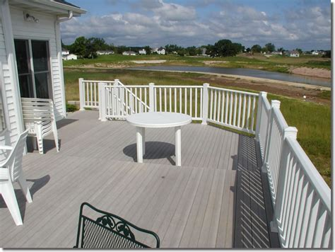 gray deck gray deck with white railings