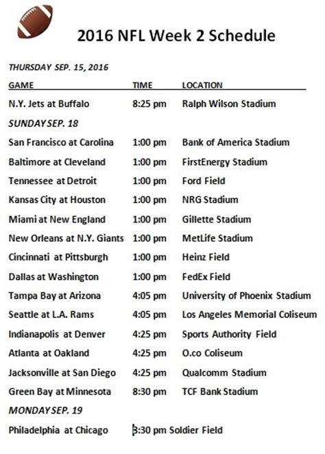 printable nfl schedule for week 2 printable 2016 nfl week 2 schedule draft news