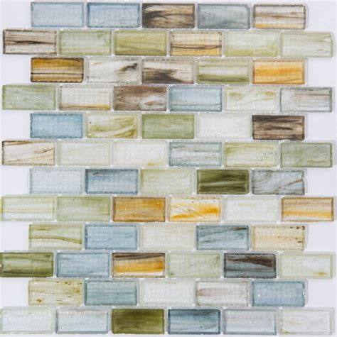 1 x2 ceramic mosaic tile milstone 1 quot x2 quot glass mix color brick mosaic tile 3702550