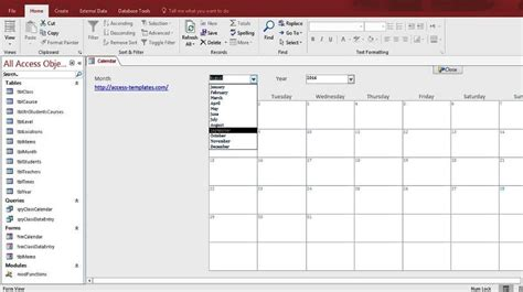 microsoft access calendar form template for microsoft