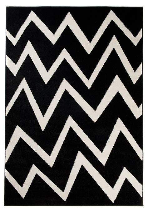 teppich schwarz weiß zick zack tapiso teppiche geometrische muster zick zack kurzflor
