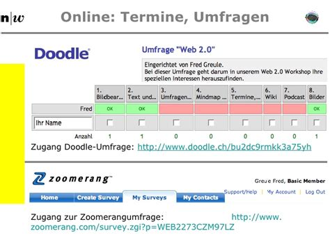 doodle umfrage login web 2 social software