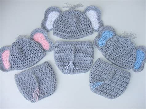 crochet pattern elephant hat crochet baby elephant hat diaper cover you pick size and