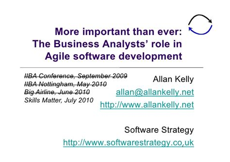 the business analysts in agile software development
