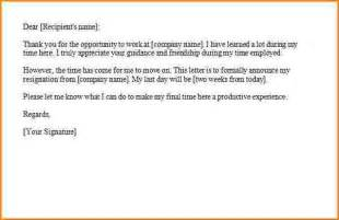 Formal 2 Week Notice Letter Resignation by 9 Formal Resignation Letter With 2 Weeks Notice