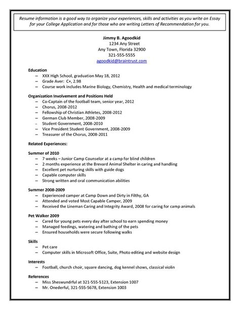 sample college admission resume application for high school seniors