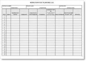 qc template inspection test plan form exle