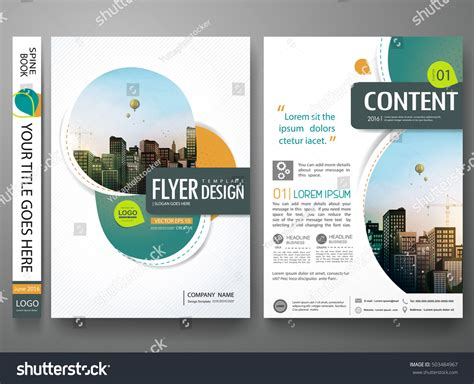 quot green abstract shape poster portfolio layout design city green abstract circle cover book portfolio stock vector