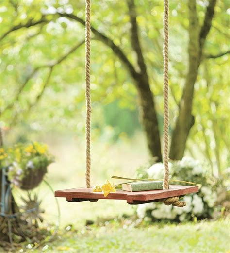 wooden rope swing rope tree swing with wooden seat outdoor ideas pinterest