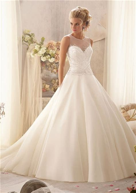 sheer beaded wedding dress gown illusion neckline sheer back tulle