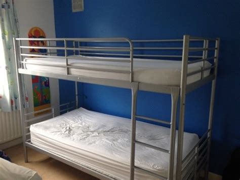 Ikea Svarta Silver Bunk Bed Frame 2 Mattresses For Sale In Bunk Beds For Sale Ikea