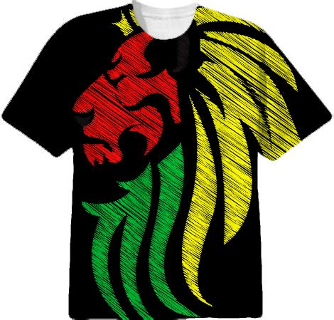 jersey design reggae shop lion reggae colors cool flag vector art cotton t
