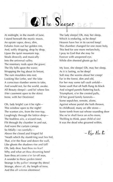 The Sleeper By Edgar Allan Poe by 1000 Images About Poe Associates On Edgar